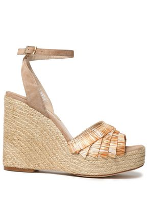 PALOMA BARCELÓ Fringed raffia and suede platform wedge espadrilles