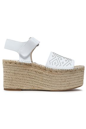 PALOMA BARCELÓ Beaded leather wedge platform espadrilles