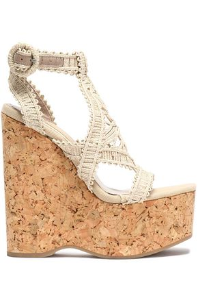 PALOMA BARCELÓ Leather-trimmed braided raffia wedge sandals