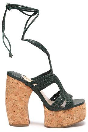 PALOMA BARCELÓ Lace-up woven leather platform sandals