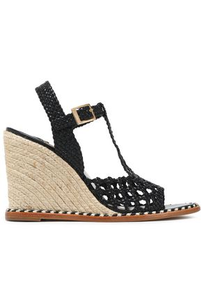 PALOMA BARCELÓ Cutout braided leather wedge platform sandals