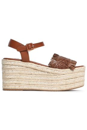 PALOMA BARCELÓ Fringed woven leather platorm espadrille sandals