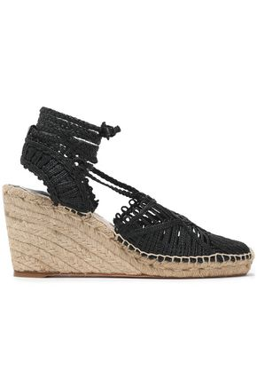 PALOMA BARCELÓ Lace-up woven wedge espadrilles