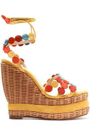 PALOMA BARCELÓ Suede-trimmed wicker wedge sandals