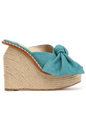 PALOMA BARCELÓ Bow-embellished suede espadrille wedge sandals
