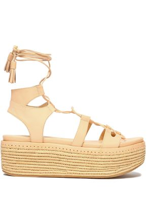 STUART WEITZMAN Lace-up leather platform espadrille sandals