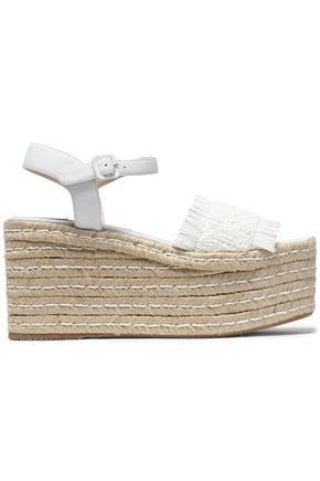 PALOMA BARCELÓ Fringed woven leather platorm sandals
