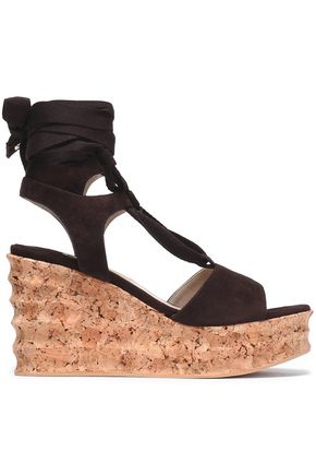 PALOMA BARCELÓ Lace-up suede wedge platform sandals