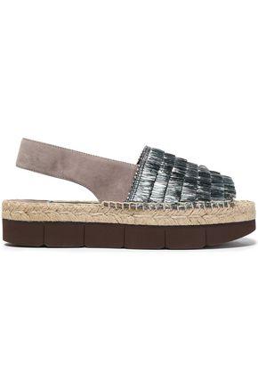 PALOMA BARCELÓ Fringed raffia and suede platform sandals