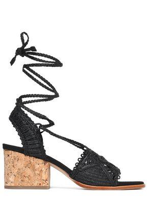 PALOMA BARCELÓ Lace-up macramé leather sandals