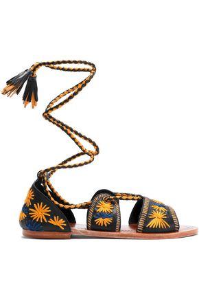 ANTIK BATIK Lace-up embroidered leather sandals