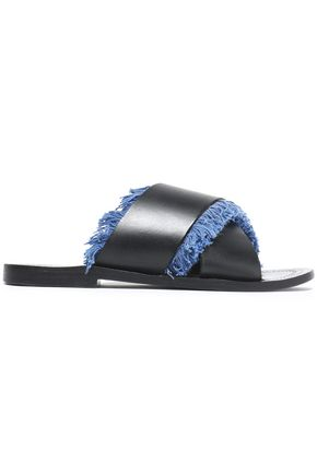 ANTIK BATIK Fringed leather slides