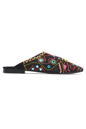 ANTIK BATIK Embellished embroidered canvas slippers