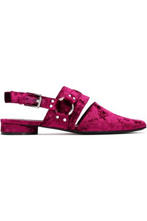 OPENING CEREMONY Buckled crushed-velvet point-toe flats