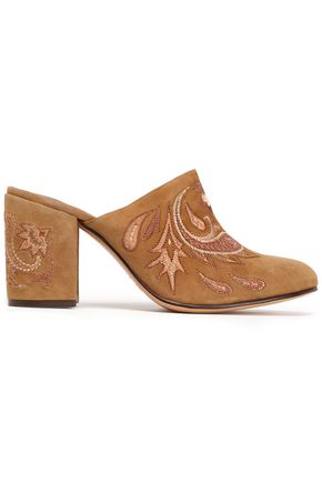 RACHEL ZOE Embroidered suede mules