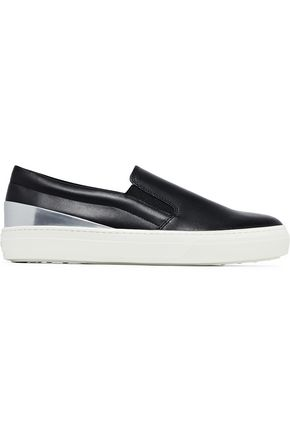 TOD'S Smooth and metallic leather slip-on sneakers