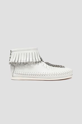 ALEXANDER WANG Fringed embellished textured-leather ankle boots