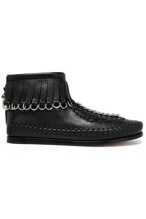 ALEXANDER WANG Fringed embellished pebbled-leather moccasins