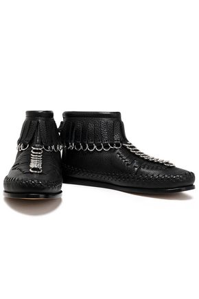 ALEXANDER WANG Montana fringed pebbled-leather ankle boots