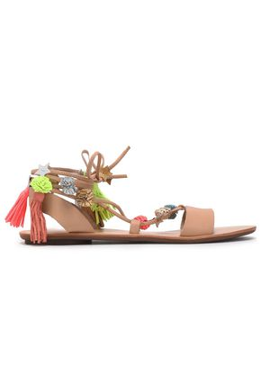 LOEFFLER RANDALL Lace-up pompom-embellished leather sandals