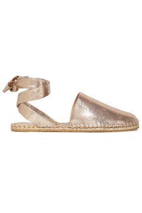 LOEFFLER RANDALL Metallic leather espadrille sandals