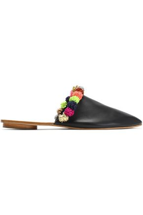 LOEFFLER RANDALL Pom pom-embellished leather mules
