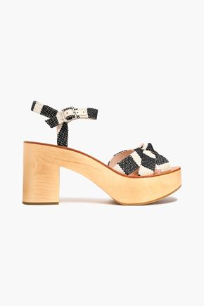 LOEFFLER RANDALL Knotted striped canvas platform sandals