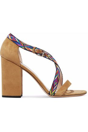 VALENTINO Woven-trimmed suede sandals