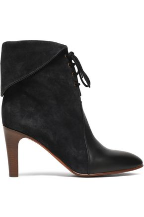 CHLOÉ Lace-up leather-paneled suede ankle boots