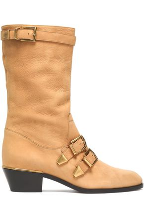 CHLOÉ Buckled textured-leather boots