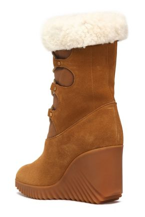 CHLOÉ Shearling-lined suede wedge ankle boots