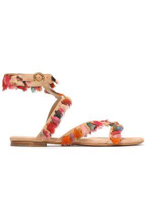 CHLOÉ Tasseled georgette-trimmed suede sandals