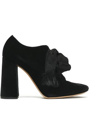 CHLOÉ Woven bow-detailed velvet ankle boots
