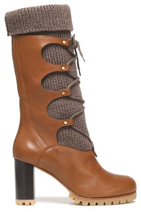CHLOÉ Lace-up knitted and leather boots