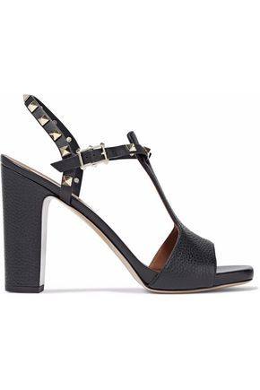 WOMAN ROCKSTUD PEBBLED-LEATHER SANDALS BLACK