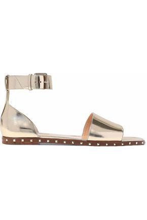 VALENTINO Studded mirrored-leather sandals