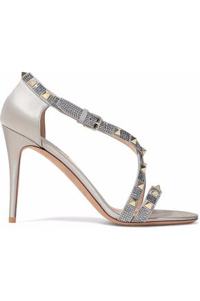 VALENTINO Rockstud crystal-embellished satin sandals