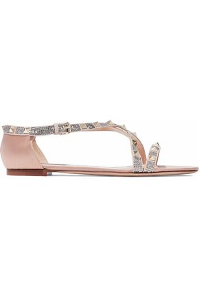VALENTINO Rockstud crystal-embellished suede and satin sandals