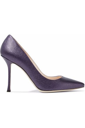 SERGIO ROSSI Iridescent snake-effect leather pumps
