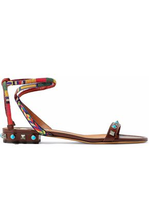 WOMAN ROCKSTUD ROLLING WOVEN AND LEATHER SANDALS CHOCOLATE