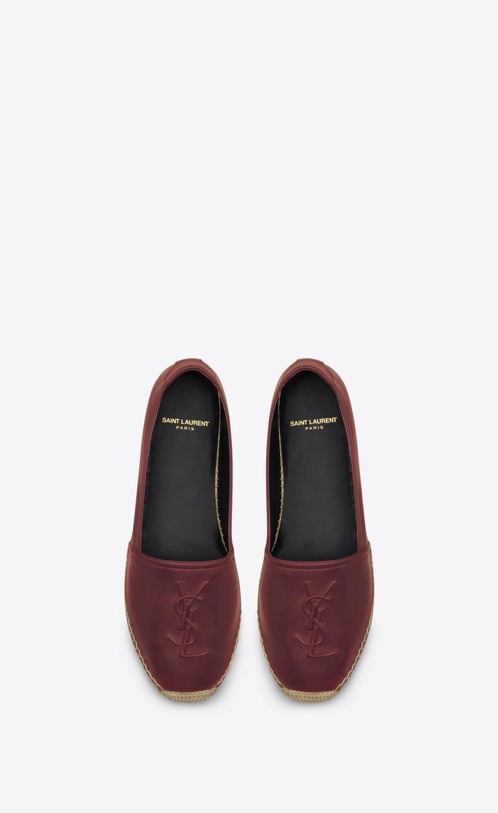 1504e4e1d7a Yves Saint Laurent monogram espadrille in light burgundy leather at ...