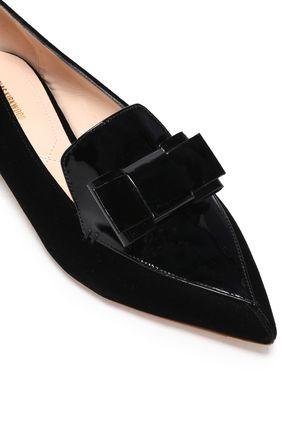 bow embellished patent leather and velvet point toe flats nicholas kirkwood sale up to 70. Black Bedroom Furniture Sets. Home Design Ideas