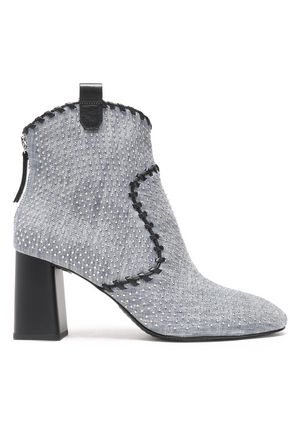 ALICE + OLIVIA Myra whipstitched studded denim ankle boots