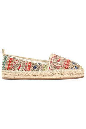 ALICE+OLIVIA Bradley embroidered canvas espadrilles