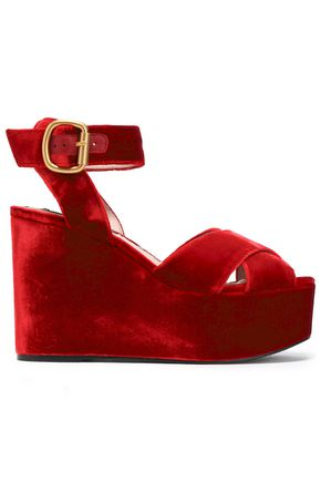 ALICE+OLIVIA Violet velvet wedge sandals