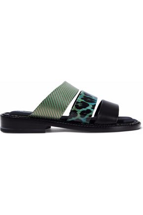 ROBERT CLERGERIE Smooth, striped and leopard-print patent-leather slides