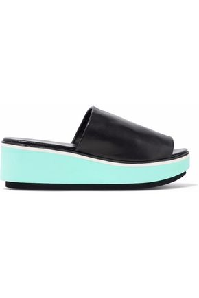 ROBERT CLERGERIE Leather platform wedge slides
