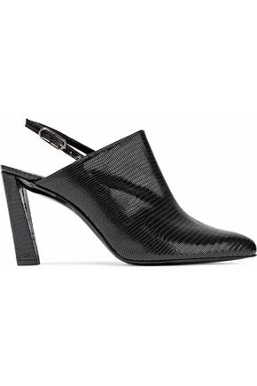 ROBERT CLERGERIE Croc-effect leather slingback pumps