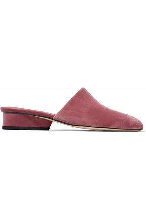 WOMAN PISA VELVET MULES ANTIQUE ROSE