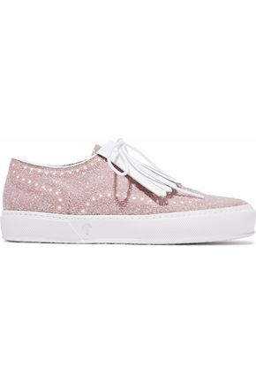 ROBERT CLERGERIE Tolka fringed glittered leather sneakers